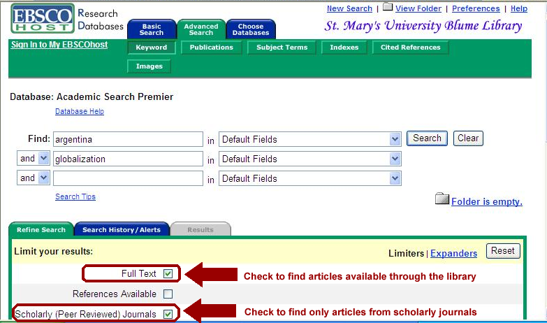 screen capture from Academic Search Premier database search screen