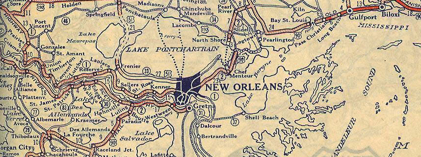 OST Louisiana New Orleans To Texas - Us 90 road mississippi map